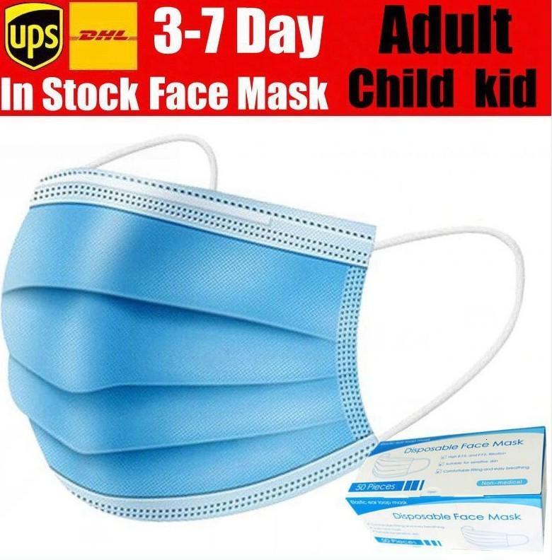 Descartável Máscara Facial 3 Camadas máscaras Earloop anti-poeira cara Boca Máscaras com caixa KID menino adulto máscara de transporte com em 12-24 horas