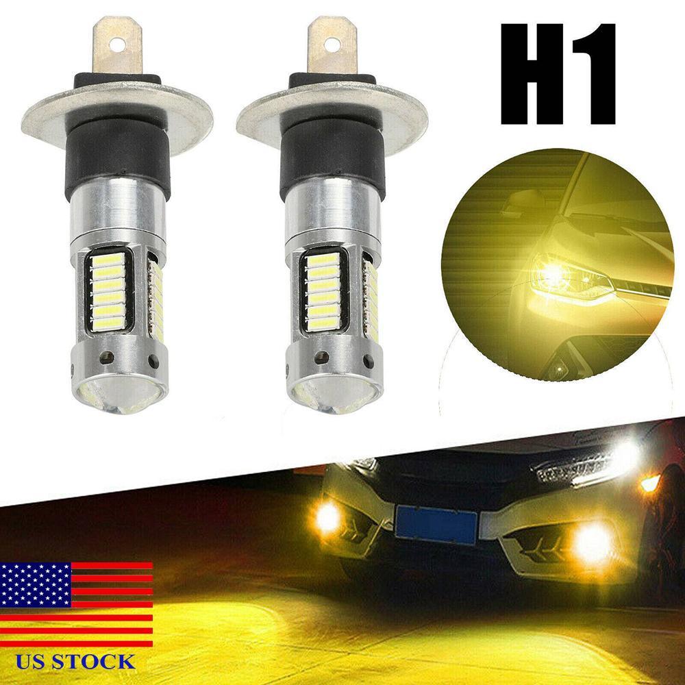 LED Sis Ampuller Çifti H1 Yüksek Güç Sarı Cree 100 W Sürüş DRL Işıkları 3000 K A0002 ABD Stok