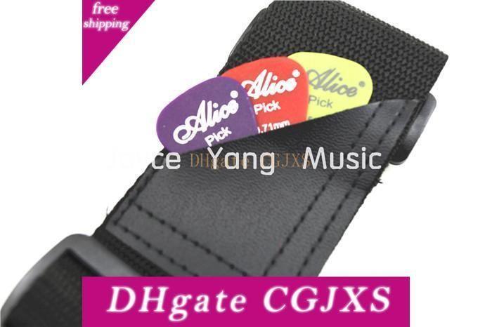 Gitar ile Alice Siyah Naylon Akustik Elektro Gitar Kayış Deri Uçlar Cep Ücretsiz Kargo toptan Seçtikleri