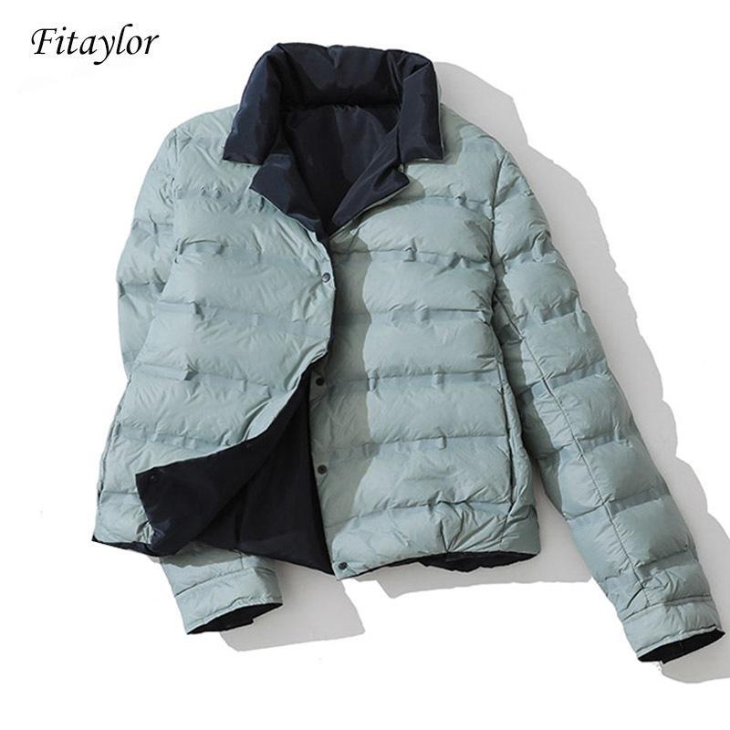 Fitaylor Inverno Mulheres dupla face para baixo suporte Jacket Colarinho Branco Pato Brasão de Down Abotoamento Quente Curto Neve Outwear T200831