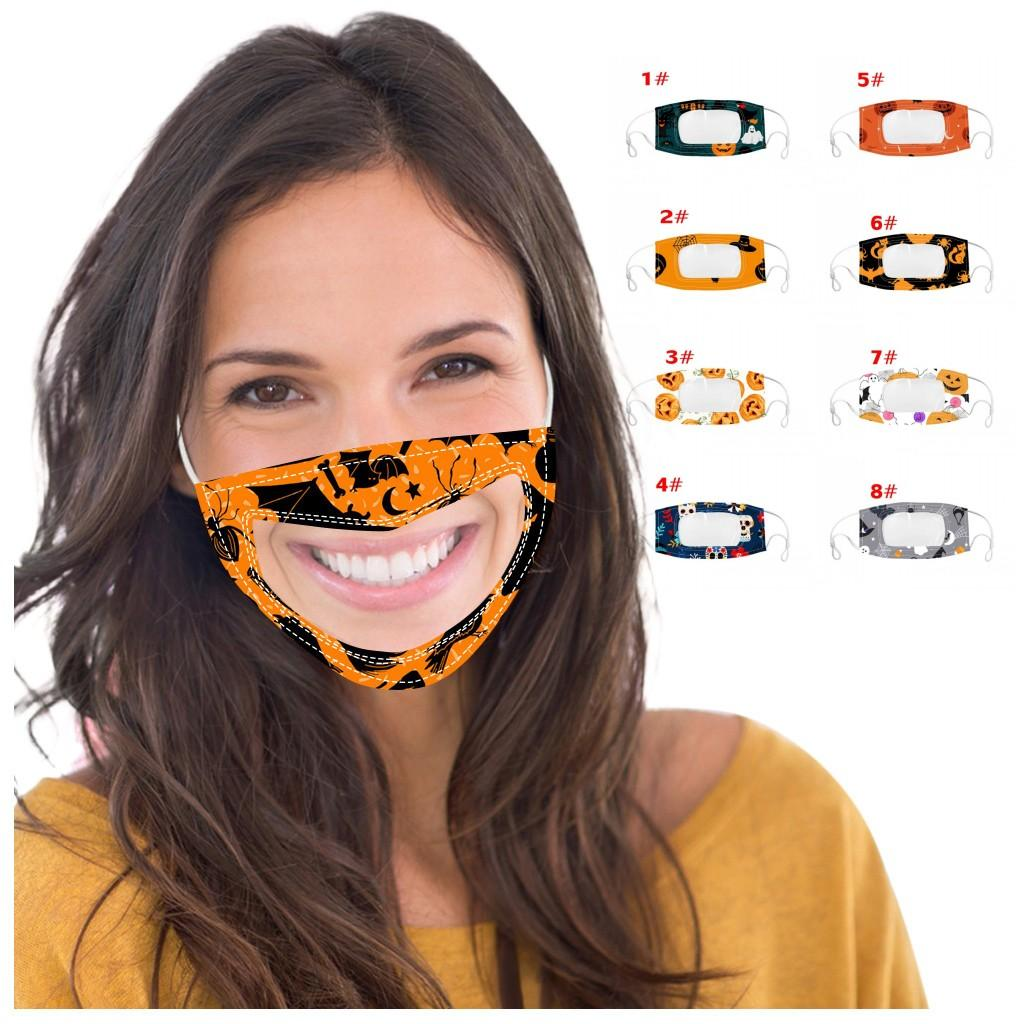 In Stock Visible Mouth Cover Mask For Deaf And Mute Halloween Party Masks Flora Printed Adjustable Earloop Adults Cotton Face Masks FY9188 n