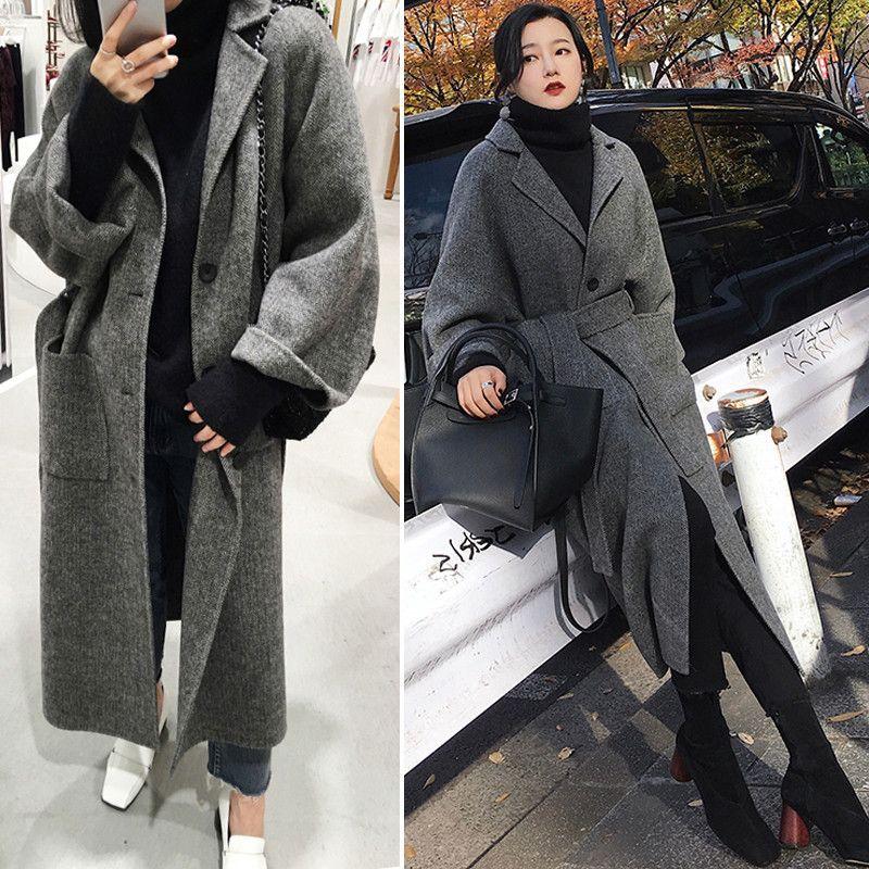 2019 Chic Ampla Brasão Com Belt Mulheres de lã Mistura Casaco de Inverno Tihck Cotton Mulheres Manteau Femme XS-XL T200831 lapela Mulheres Winter