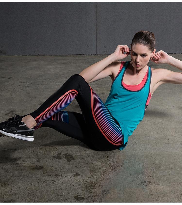 FMPOd iJSDi 2019 плотный тонкий жесткий осень / зима новый поножи 3D напечатаны цветные полоски для отражательной лазерных штаны хип-лифтинг йоги волшебные штаны Yo