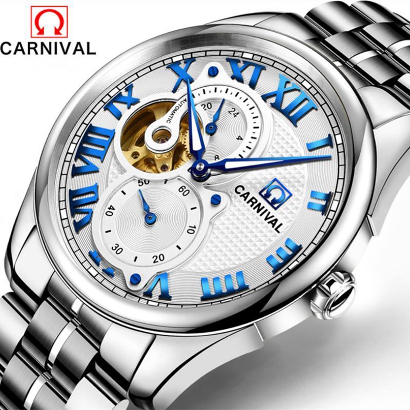 Vintage hombres de negocios romanos los relojes de pulsera mecánico a prueba de viento de acero completa Carnival reloj automático Marca de agua Montre