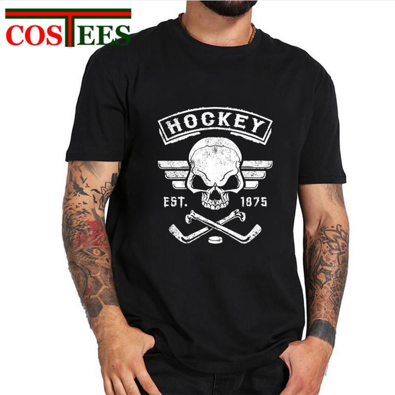 2019 Vintage Canada Hockey Skull&Bone design T shirt men best gift for hockeyplayer team Tops tees fans retro fintness Tee shirt