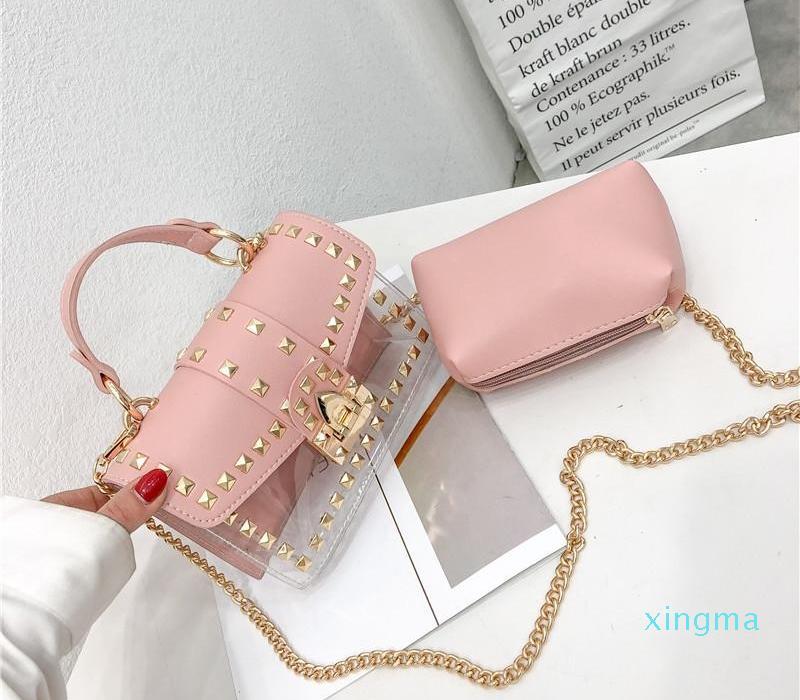 Nova Designer Mulher Nova Moda Messenger Bag Chains ombro bolsa de mulheres rebites transparentes