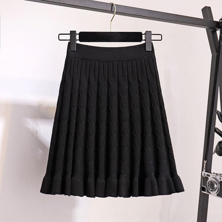 zwfom iIrze Twist ébouriffé tricotée de style automne-coréen ligne A- femmes courte jupe haute jupe robe de laine ligne A minceur taille