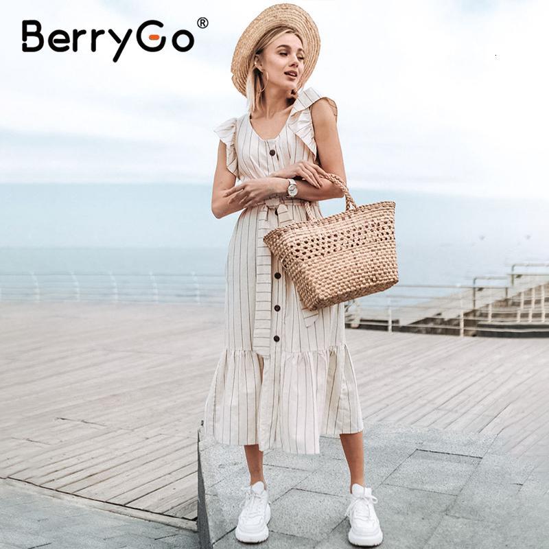 BerryGo Klasik v-ne çizgili kadınlar uzun dr Şık fırfır kollu ofis dişi günlük çalışma dr Düğmeler bayanlar maksi dr