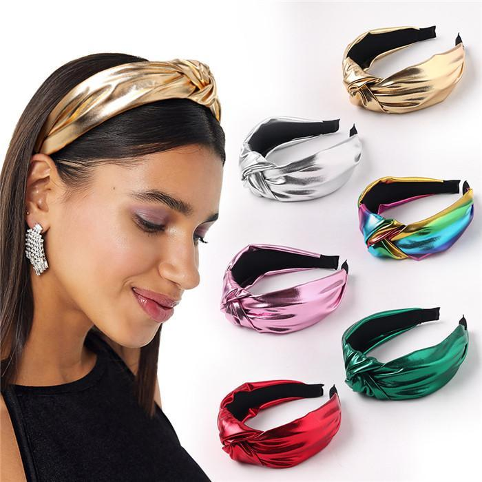 Capelli delle donne annodate modo di Hairband brillante Color Cross Knot donne della testa del cerchio semplice ragazze dolci fascia dei capelli Accessori per capelli