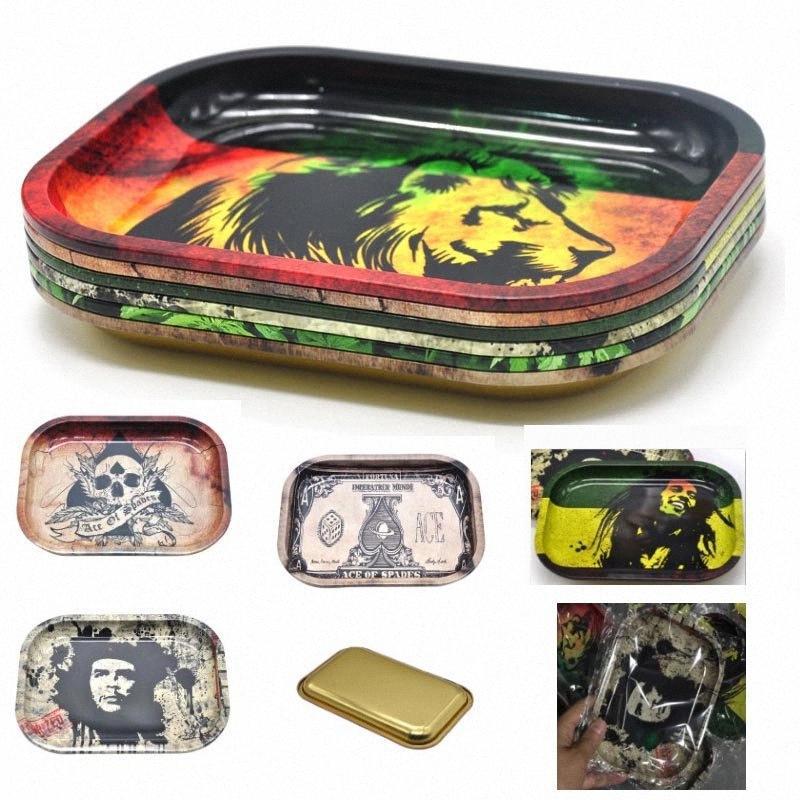 5 colori metallo Frutta Vassoio Tin Plate Case Mini Metal Machine Tabacco Vassoio di rollaggio Handroller fumatori Storage Case 18 * 14cm HH7-384 HoI8 #