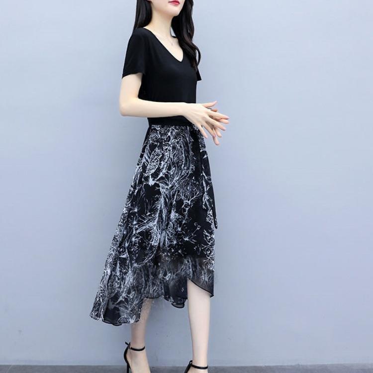 c9s3W 2020 estate dimagriscono il vestito chiffon popolare elegante abito girovita a tenuta delle donne dimagranti grandi donne