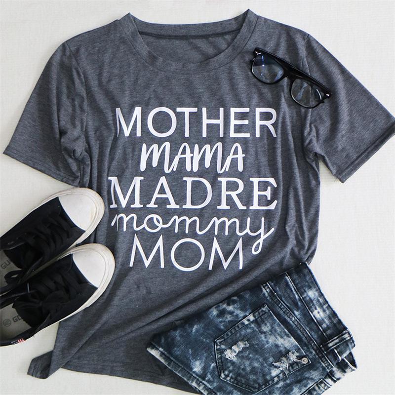 عيد الأم رسالة إمرأة T-قمصان MOTHER MAMA في Myre الأم MOM الصيف يا الرقبة المرأة بلايز مصمم عادية تي شيرت