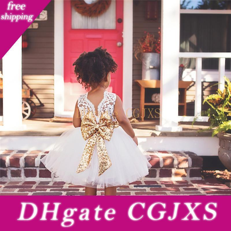 Princess Satin Communion Dress Pink Big Bow Flower Girl Dresses For Wedding 2020 Kids Lace Tutu Dress Birthday Party Dresses