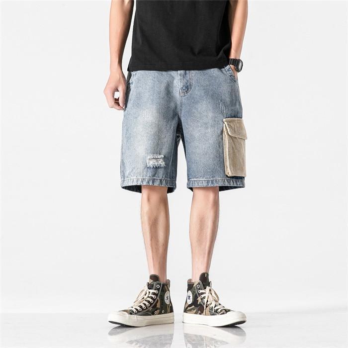 Pantalones longitud de la rodilla para hombre de Empalme pantalones cortos de mezclilla de verano suelto con bolsillo Beach cortos masculino