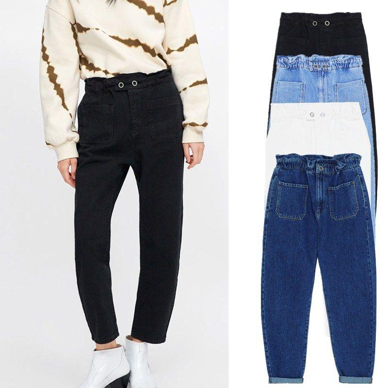 jeans nova ZAraing mulheres, bolsas largas, 4 cores