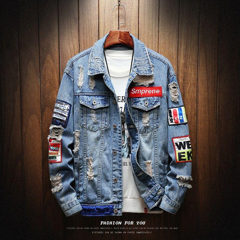 Mens Jackets And Coats Black Holes Denim Coats New Fashion Men Spring Autumn Loose Casual Jean Jackets Outwear Denim