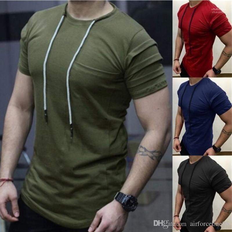 Erkek tişörtleri Yaz Moda Katı Bağları O yaka Casual Tees Kısa Sleeve Designer Tops