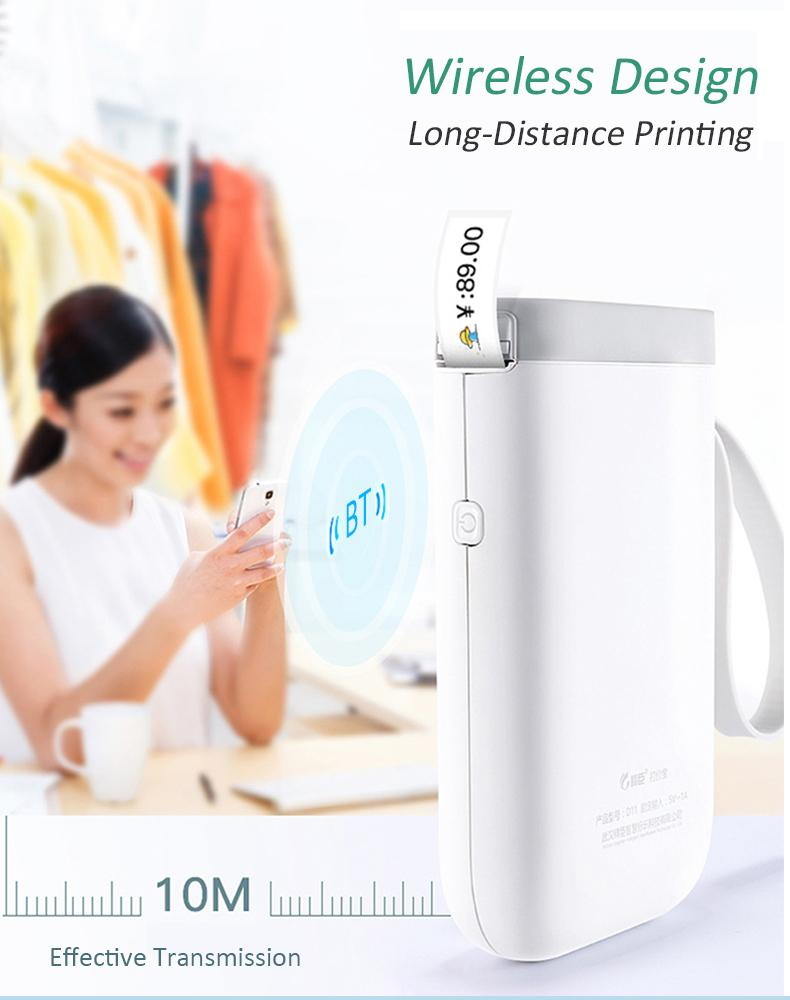 D11 Mini Pockect Wireless Thermal Label Printer Portable Bluetooth Sticker Printer Home Use Office Fast Printing Lable Maker Online Shop