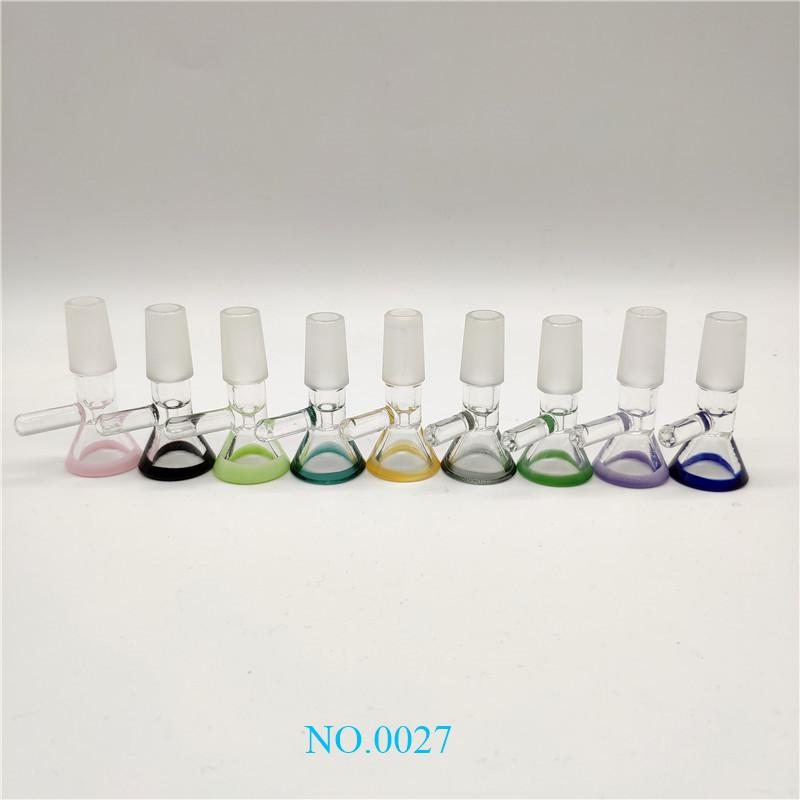 New Popular Funnel Bowls Pipes 14mm Male Joint 9 Colors Smoking Glass Bong Bowl Piece For Glass Bongs Oil Rigs Water Pipe zx
