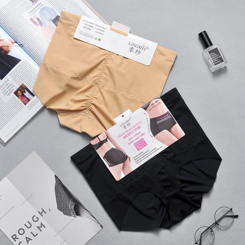 De gran tamaño mediados de cintura cadera de elevación de la ropa interior de hielo posparto pantalones de las mujeres de la ropa interior de las mujeres que moldean el cuerpo para quemar grasa del vientre pantalones de seda sin costuras