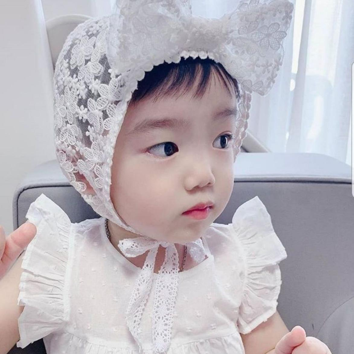 Corée Nouveau été bébé dentelle printemps pneu nouveau-né et l'arc dentelle bébé été filles chapeau princesse chapeau de pneu 100 jours Gong Tingmao hYyfQ