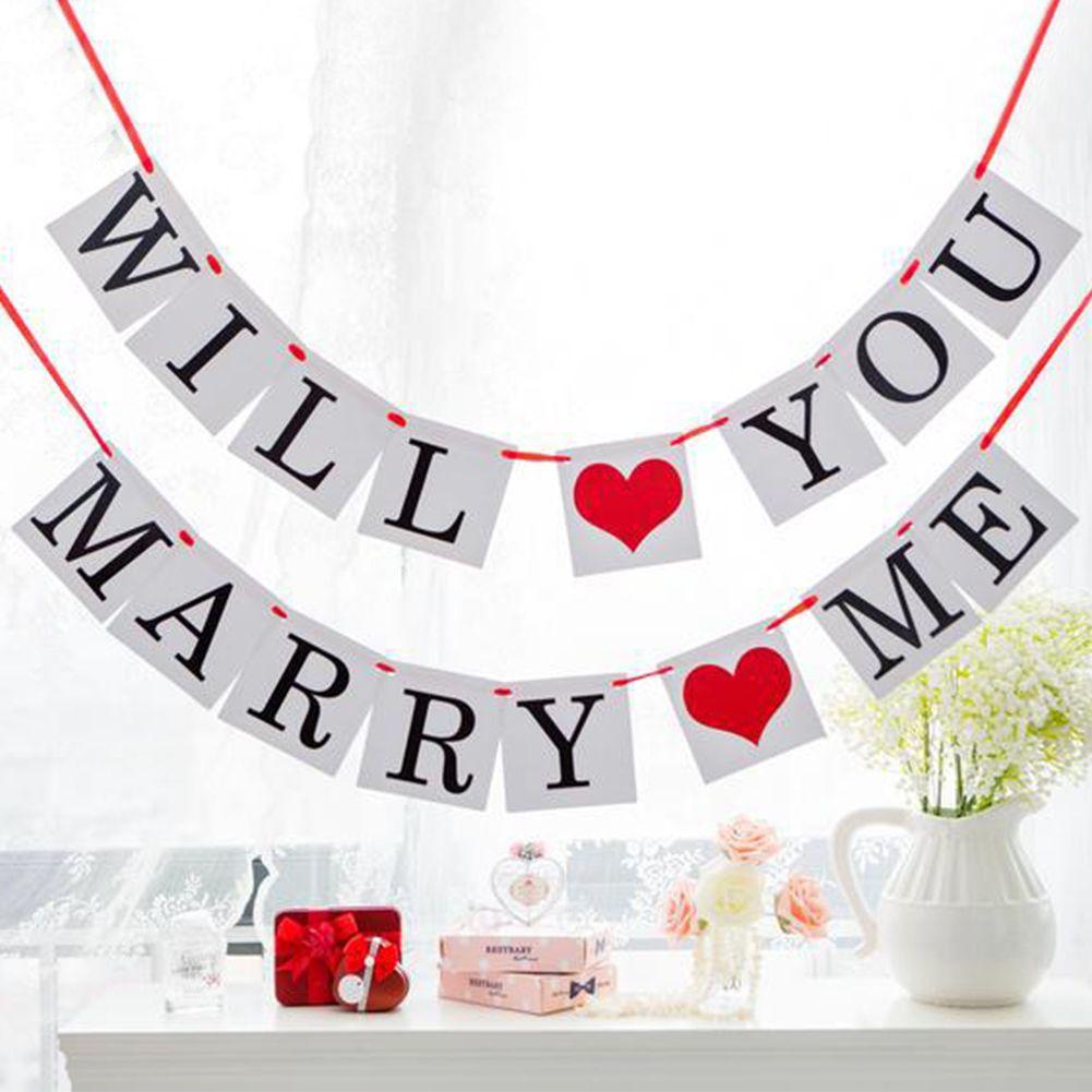 당신은 나 발렌타인 데이 장식 배너 결혼 제안 로그인 결혼 해 줄래