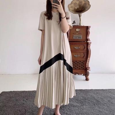 2020 весной юбка плиссированных юбок и летом новый плиссированные платья с коротким рукавом длиной до колен свободно телесного покрытия похудения платья 2zTFQ