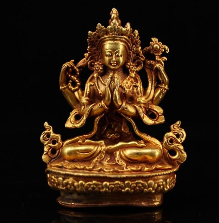 Les fabricants d'antiquités stock, artisanat rétro, cuivre doré, antiquité, vieux, Guanyin armé de quatre, une décoration de la maison