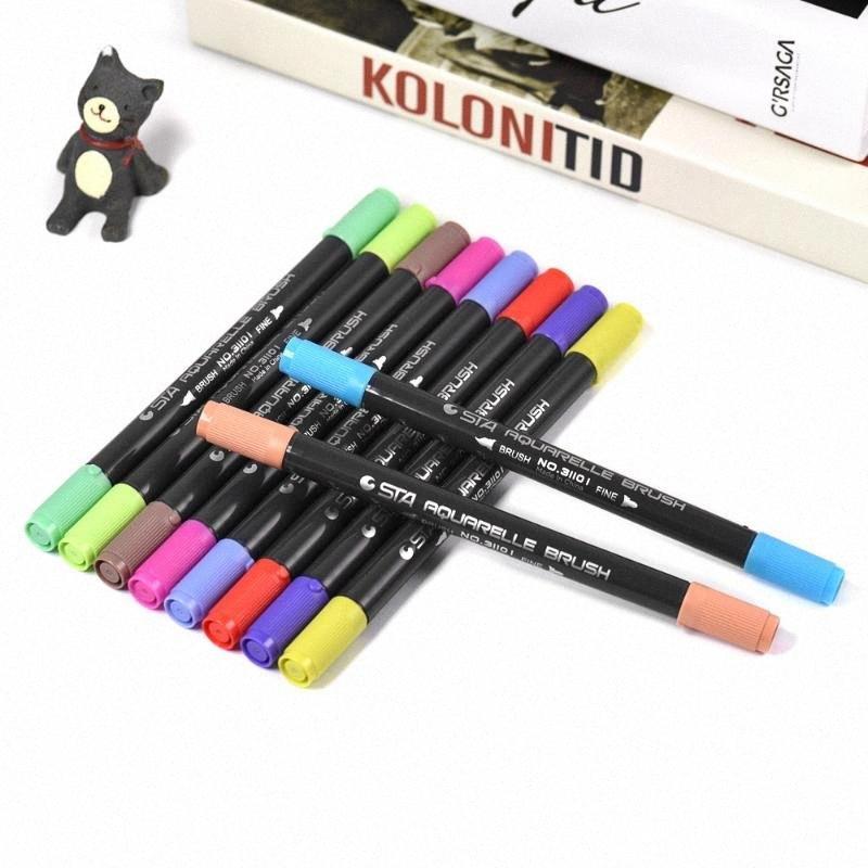 Multicolor-Marker Markierstift Twin Tip Pinsel Sketch Pens Tinte auf Wasserbasis für Grafik Manga Zeichnung Planung für Schule Büro YR9B #