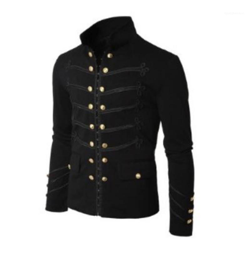 Средневековье Vintage Natural Color куртка Повседневный Stand Collar двойной однобортный пиджак Мужчины S Одежда Мужская куртка конструктора