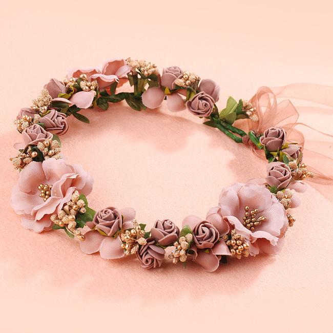 2Pcs Nuovo Garland sposa copricapo da sposa corona di fiore di simulazione fascia Ragazze Mare vacanze Beach Accessori Copricapo