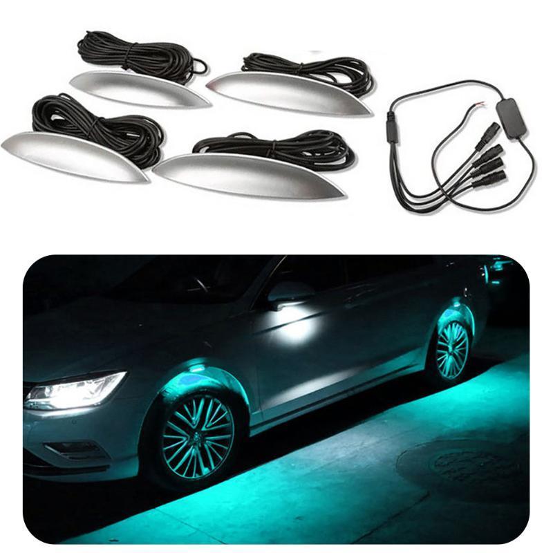 4 adet / grup Tek Renk Evrensel Araba Işık Araba Dekoratif Lamba Tekerlek Kaş Işıkları Atmosfer Işık Şekillendirici