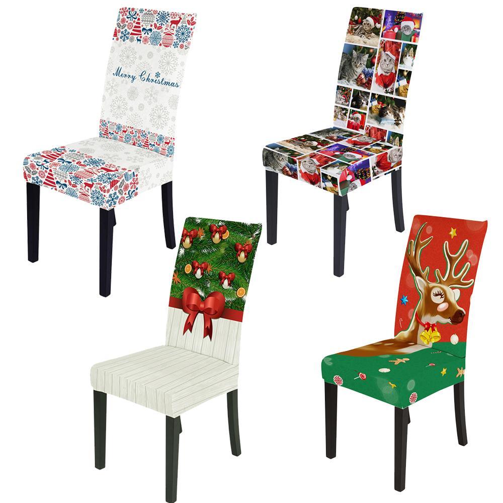 Capa de cadeira para o Natal, Bonito 3D impressão digital Slipcover, Santa Claus Snowman Sino Árvores Poliéster Tecido Cadeira Capas para sala de jantar