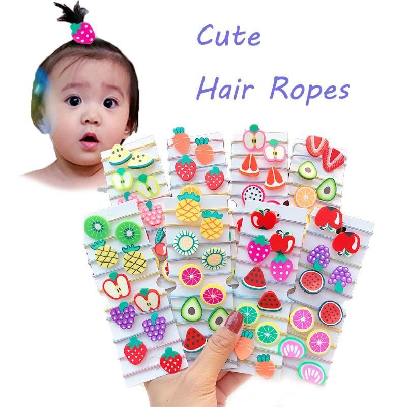 10PCS / Nvx Cute Girls Cartoon Fruits Bandeaux élastiques enfants Porte-queue de cheval Scrunchie Élastique Fashion Accessoires cheveux