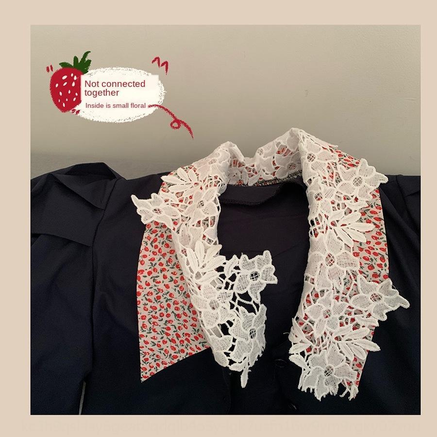 I3QPf 슬리브 고스트 하우스 한국 동문 블랙 퀸 시리즈의 아름다움 셔츠 자기 보존 꽃 무늬 레이스 더블 칼라 레이스 D9nZu의 shir 튀김