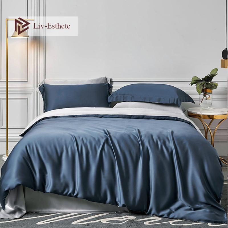 ليف-إسذيت 100٪ الحرير أزرق رمادي مجموعة مفروشات لل25 Momme الغلاف الملكة الملك حاف السرير ورقة جاهزة ورقة Pillowcace لجمال النوم