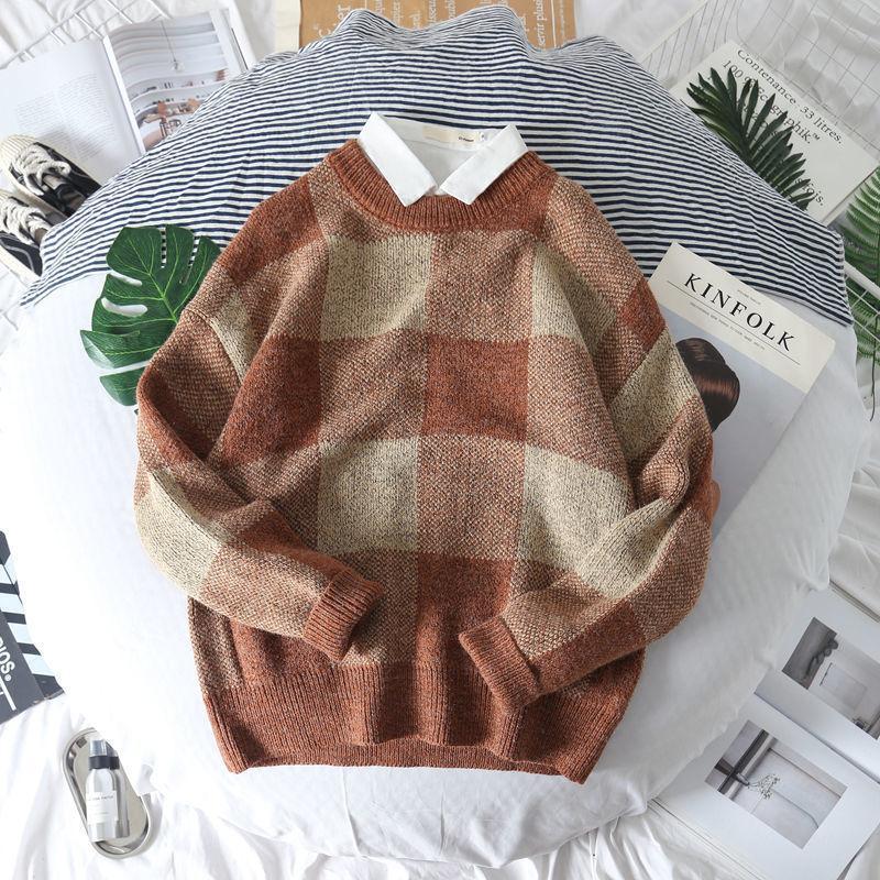 Coreano pulôver outono malhas 2019 novos camisola xadrez dos homens e inverno preguiçoso camisola dos homens