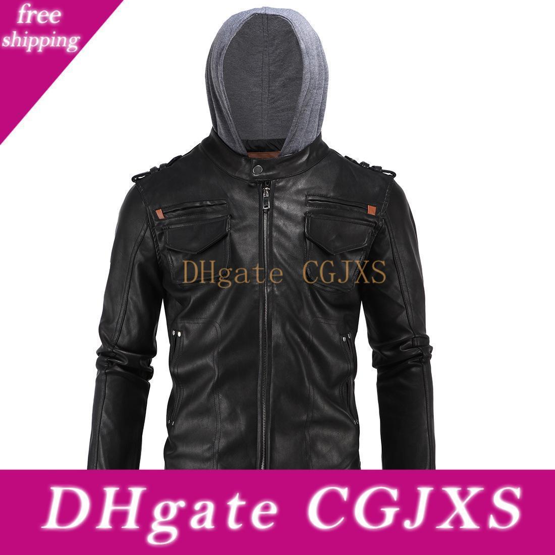 Il modo Europa ed elegante uomini '; S Wear Carrie cappotto di cuoio semplice locomotiva incappucciato cappotto di cuoio Ultra-Large Size Xd