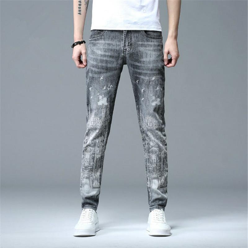 scarno diritto strappato uomo con i jeans elasticizzati casuale denim vestibilità dei jeans dei pantaloni da biker moda dritto con pantaloni da uomo