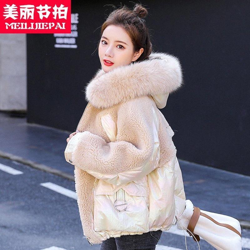Helle Baumwolle gefütterte Frauen Mittel lang 2019 neuer Wintermantel Laser Brot wattierte Jacke in untenen Baumwolljacke XKwB #