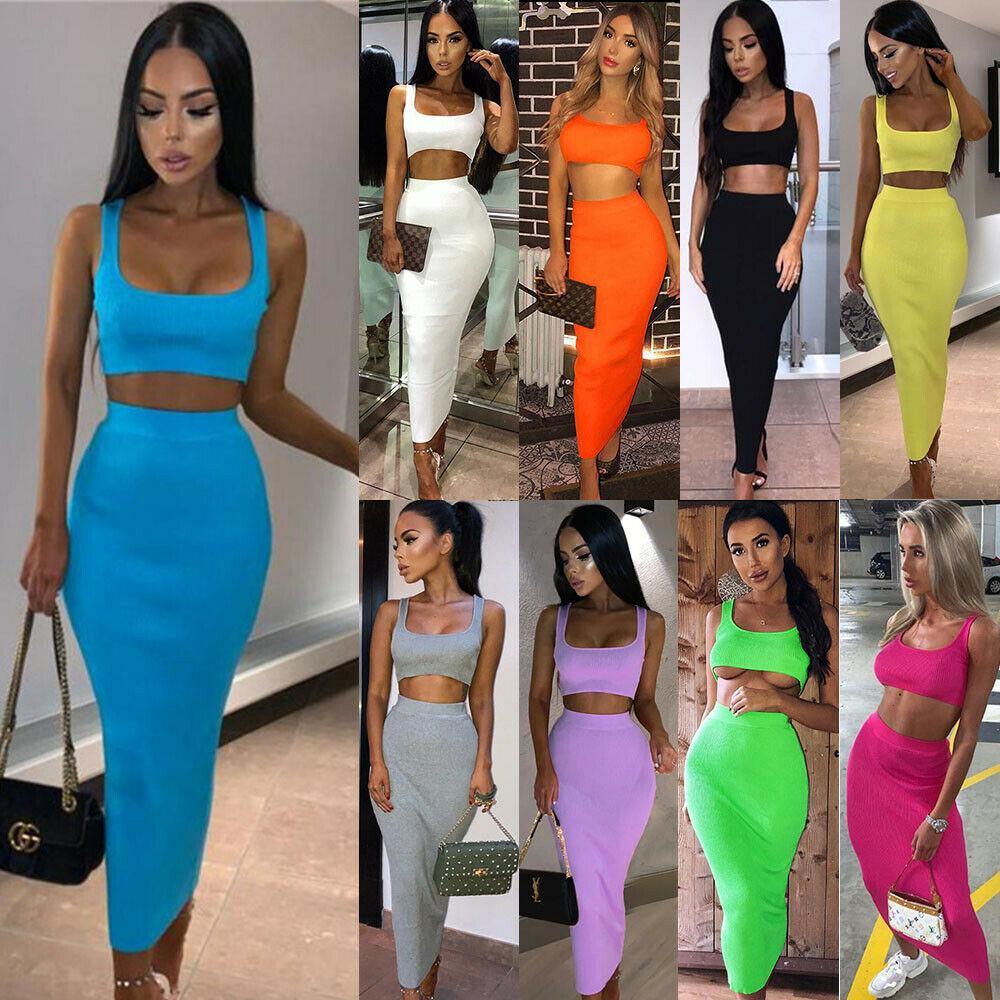 9 색 S-XL Womens 2 조각 세트 긴 스커트 자르기 탑 드레스 슈트 숙녀 Bodycon Co Ord Knit 59241911508054