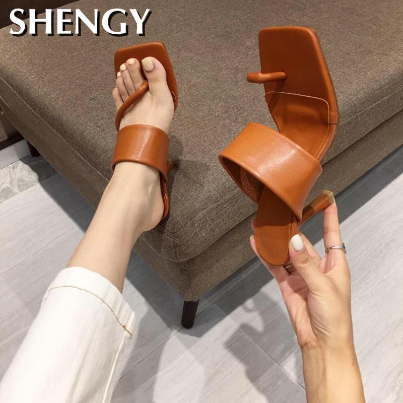 Damen Sandalen Straps Mode für Frauen-Absatz-Schuhe 2020 Sommer-Heels Pantoffeln Flip Flops Plattform weiblich Beige Lace Up Sandale