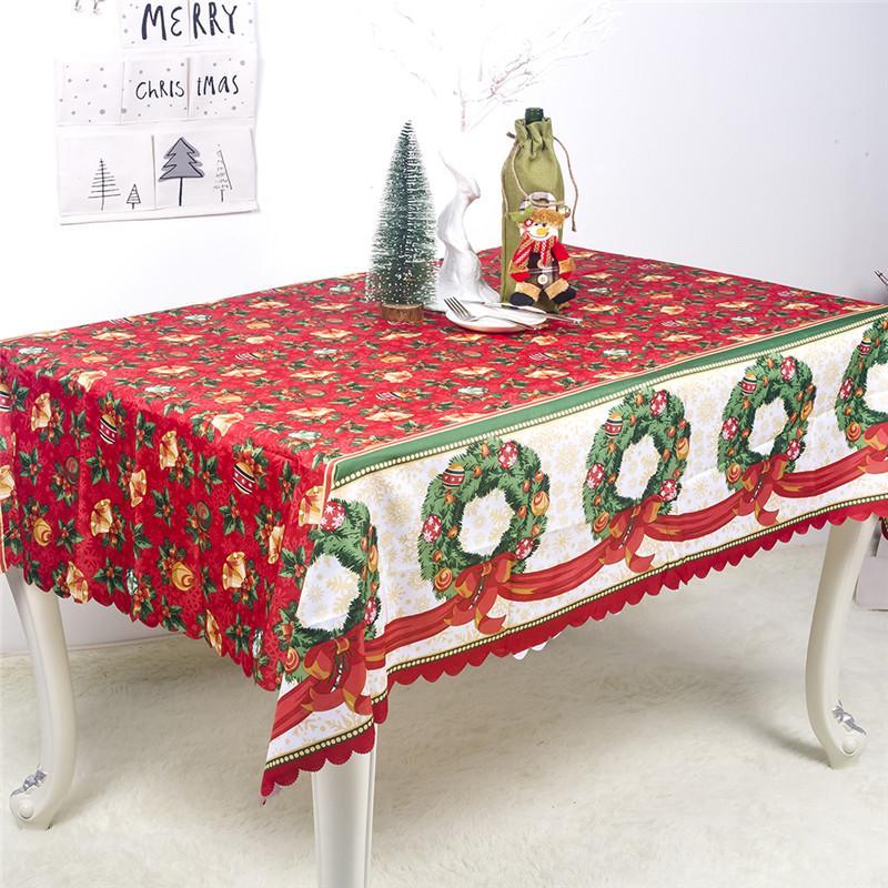 عيد الميلاد البوليستر المطبوعة مفرش المائدة المستطيلة فندق حفلات عيد الميلاد مفرش المائدة الديكور المنزلي