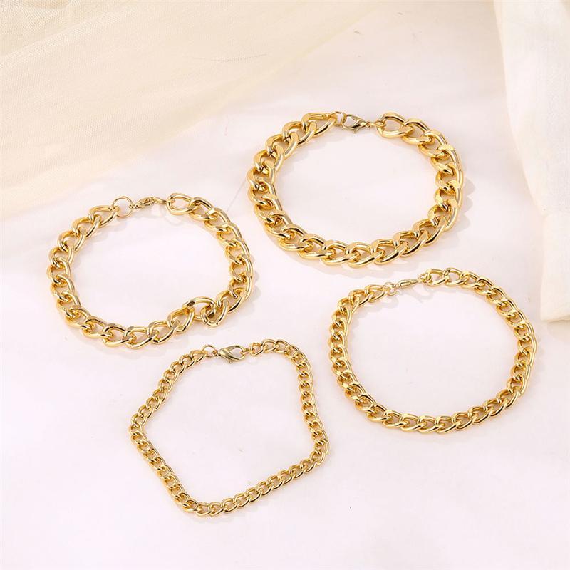 Bracciale in metallo di colore dell'oro per Uomo Donna Minimalismo Catena del braccialetto dei braccialetti monili del punk all'ingrosso dei monili