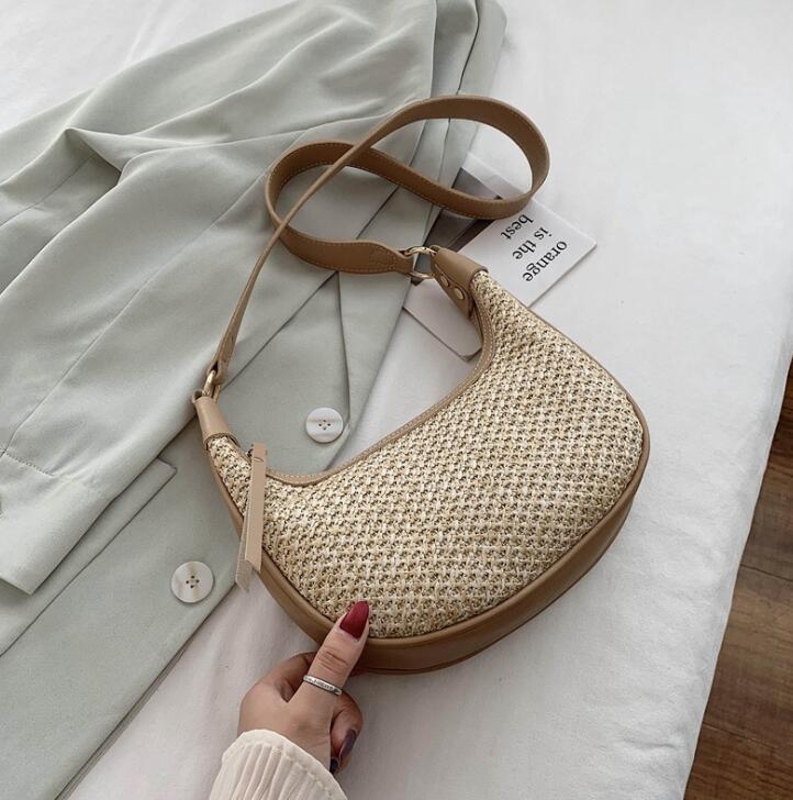 Designer- Beach bag Half Moon underarm bag designer handbags shoulder bags Woven bags 2 Removable shoulder strap
