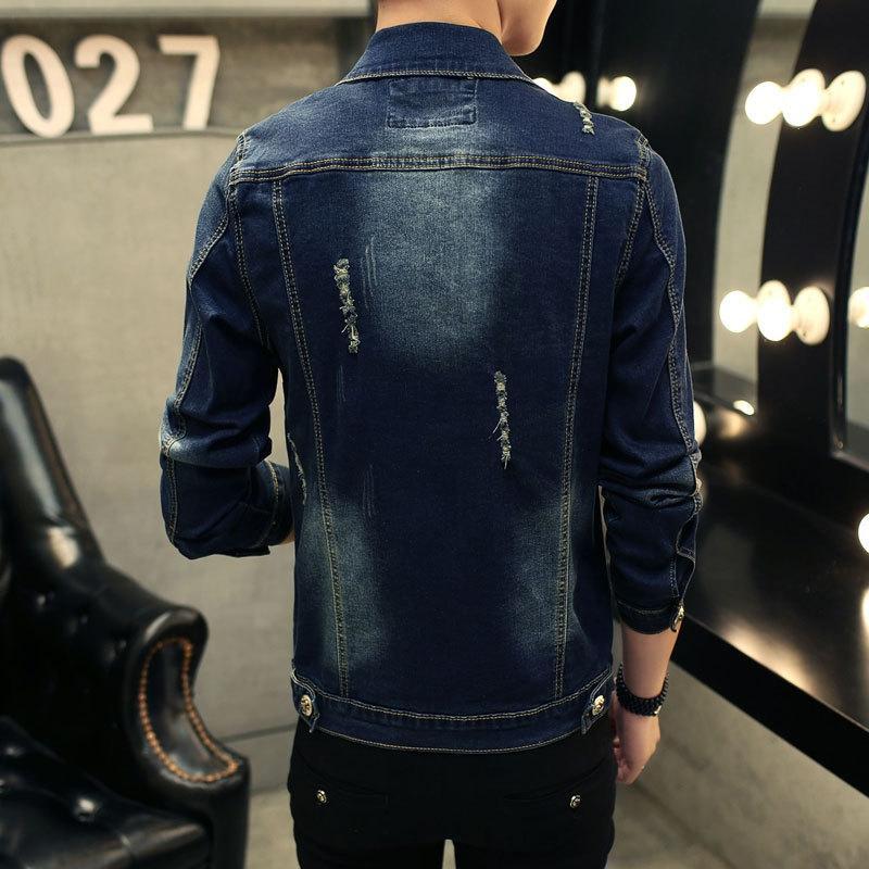 14DrY giacca strappato Gioventù nuova slim fit giacca di jeans alla moda 2019 stile denim coreano del Tutto-fiammifero della moda uomo maschile