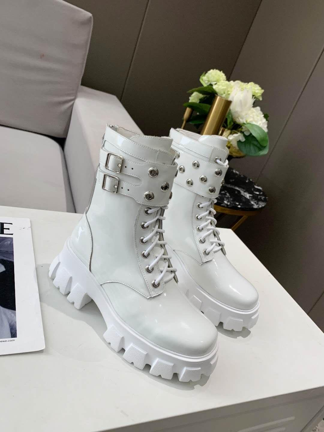 Best-Selling High-Quality Designer Women Boots Genuine Leather Mid-Calf Lace-Up Buckle Zipper Metal Decoration Brand Comfortable Shoes