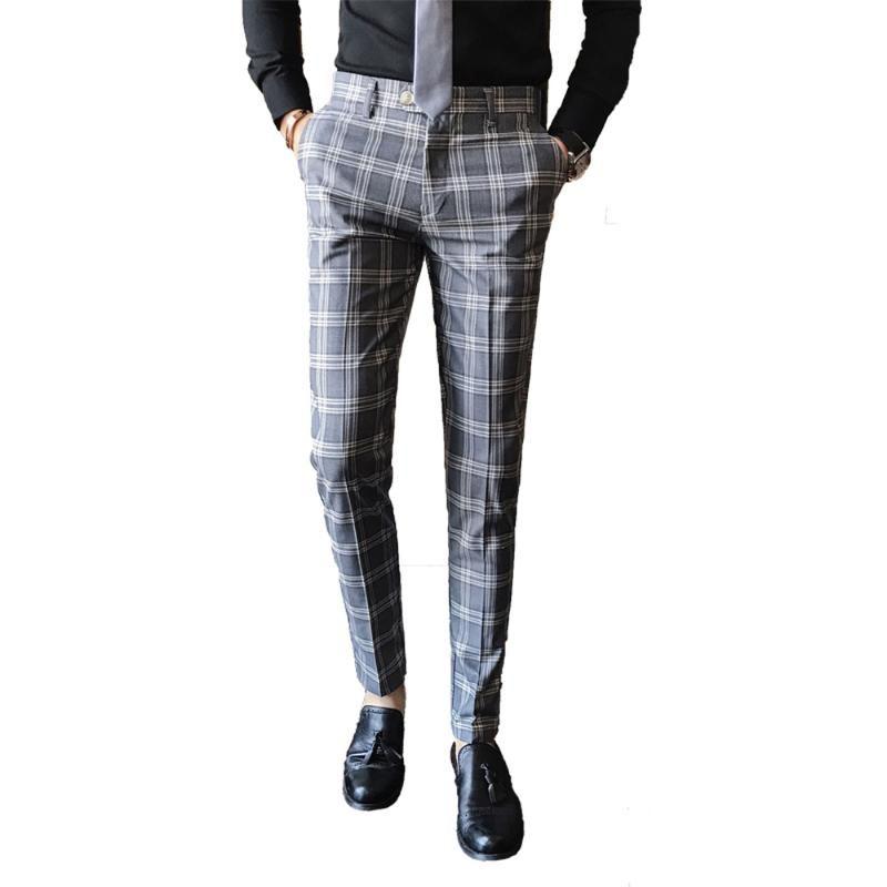 Мужские брюки мужские платья костюм брюки деловая повседневная стройная подходящая англия классические брюки свадьба мужская корейская версия плед