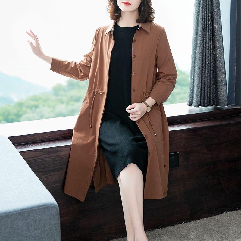 2020 Outono Nova slim-encaixe cintura primavera elegante e Outono Mid-comprimento cor sólida casaco corta-vento casaco casuais das mulheres para as mulheres mc