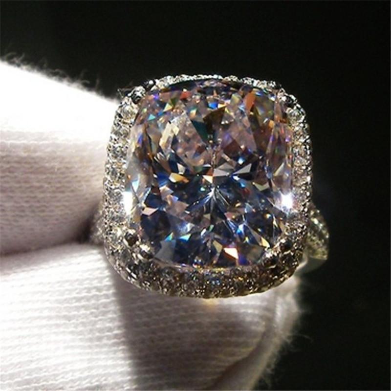 Lusso 8ct gioielli con diamanti 14K White Gold Moissanite Corte di fidanzamento Wedding Band anelli per le donne del partito nuziale accessorio LJ200828